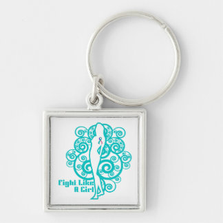 Thyroid Cancer Abstract Fight Like a Girl Silver-Colored Square Key Ring