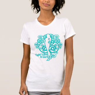 Thyroid Cancer Abstract Fight Like a Girl Tshirt