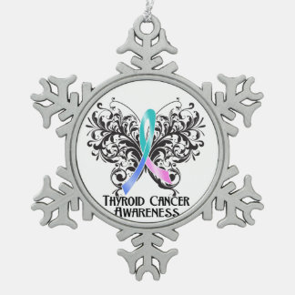 Thyroid Cancer Awareness Butterfly Pewter Snowflake Decoration