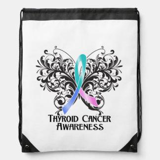 Thyroid Cancer Awareness Butterfly Cinch Bags