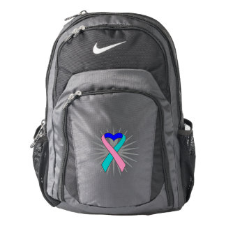 Thyroid Cancer Awareness Heart Ribbon Backpack