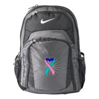 Thyroid Cancer Awareness Heart Ribbon Backpack