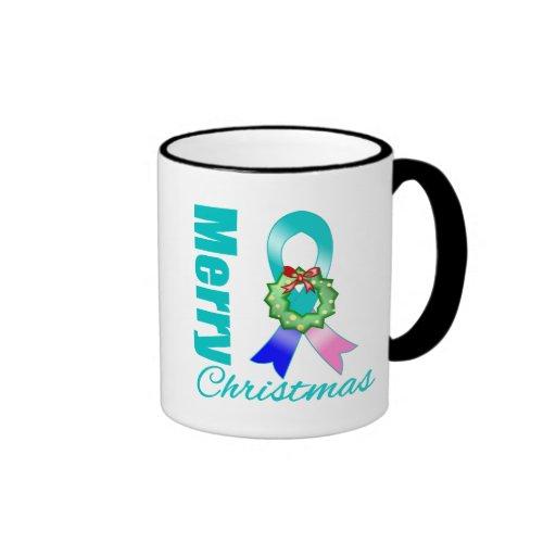 Thyroid Cancer Awareness Merry Christmas Ribbon Coffee Mug