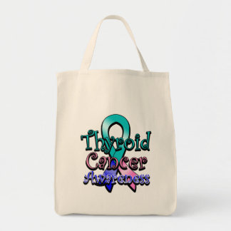 Thyroid Cancer Awareness Ribbon Grocery Tote Bag