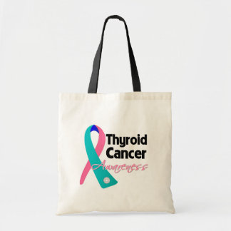 Thyroid Cancer Awareness Ribbon Budget Tote Bag