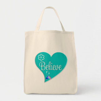 Thyroid Cancer Believe Heart Tote Bag