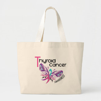 Thyroid Cancer BUTTERFLY 3.1 Large Tote Bag