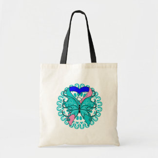 Thyroid Cancer Butterfly Circle of Ribbons Budget Tote Bag