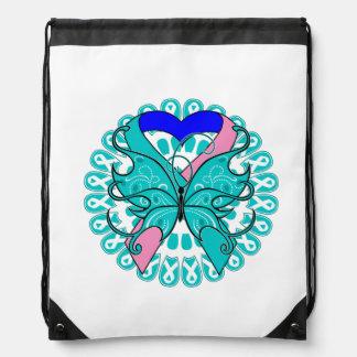 Thyroid Cancer Butterfly Heart Ribbon Backpacks
