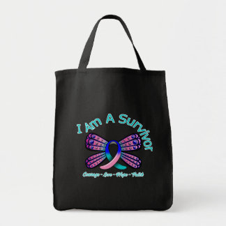 Thyroid Cancer Butterfly I Am A Survivor Grocery Tote Bag