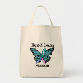 Thyroid Cancer Butterfly Ribbon Grocery Tote Bag