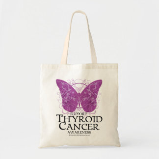 Thyroid Cancer Butterfly Tote Bags