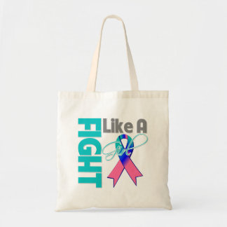 Thyroid Cancer Chic Fight Like A Girl Ribbon Budget Tote Bag