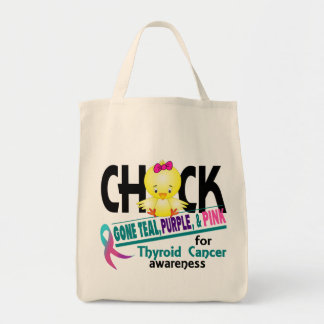 Thyroid Cancer Chick Gone Teal, Purple, And Pink 2 Grocery Tote Bag