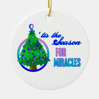 Thyroid Cancer Christmas Miracles Round Ceramic Decoration
