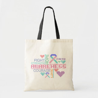 Thyroid Cancer Colorful Slogans Budget Tote Bag