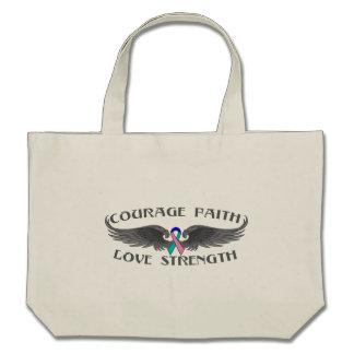 Thyroid Cancer Courage Faith Wings Bag