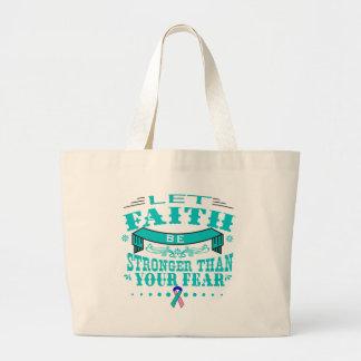 Thyroid Cancer Faith Stronger than Fear Jumbo Tote Bag