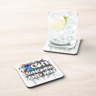 Thyroid Cancer Fight Conquer and Win Coasters