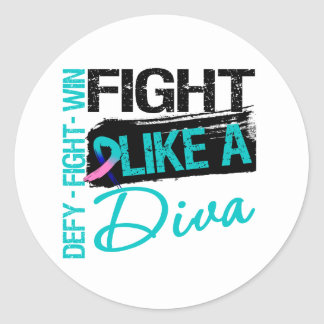 Thyroid Cancer - Fight Like a Diva Round Stickers