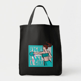 Thyroid Cancer Fight Like A Girl Boxer Grocery Tote Bag