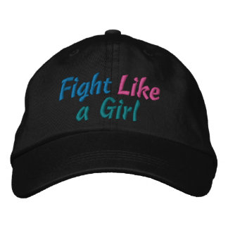 Thyroid Cancer Fight Like a Girl Embroidered Baseball Cap