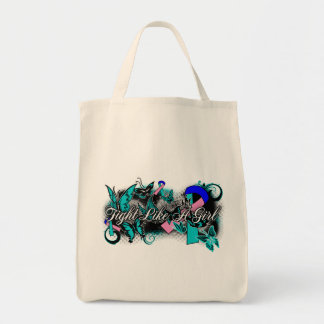 Thyroid Cancer Fight Like A Girl Grunge Butterfly Tote Bag