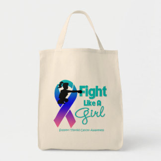 Thyroid Cancer Fight Like A Girl  Knock Out Canvas Bag
