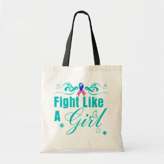 Thyroid Cancer Fight Like A Girl Ornate Budget Tote Bag