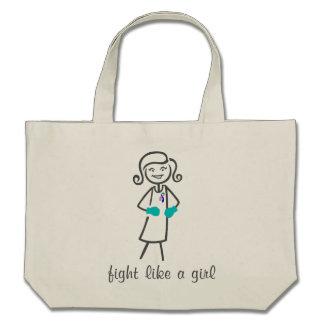 Thyroid Cancer Fight Like A Girl (Retro) Bags