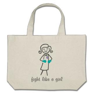 Thyroid Cancer Fight Like A Girl (Retro) Bags