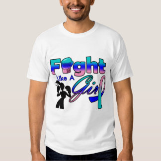 Thyroid Cancer Fight Like A Girl Silhouette Tshirts