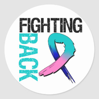 Thyroid Cancer Fighting Back Round Sticker