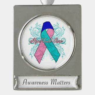 Thyroid Cancer Flourish Hope Faith Cure Silver Plated Banner Ornament