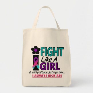 Thyroid Cancer I Fight Like A Girl 1.2 Grocery Tote Bag