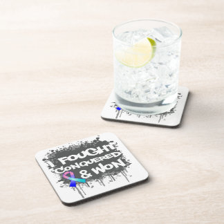 Thyroid Cancer I Fought Conquered Won Beverage Coasters