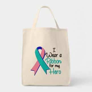 Thyroid Cancer I Wear a Ribbon For My Hero Tote Bags
