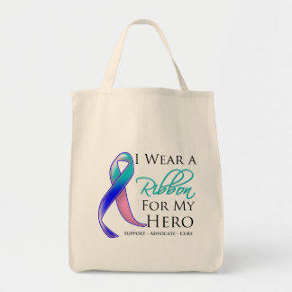 Thyroid Cancer I Wear a Ribbon For My Hero Grocery Tote Bag