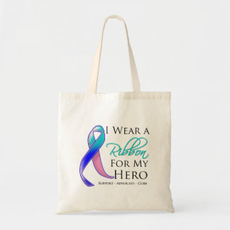Thyroid Cancer I Wear a Ribbon For My Hero Budget Tote Bag