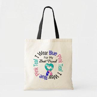 Thyroid Cancer I Wear Heart Ribbon Best Friend Tote Bags
