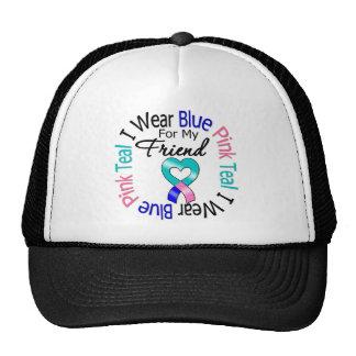 Thyroid Cancer I Wear Heart Ribbon For My Friend Hat
