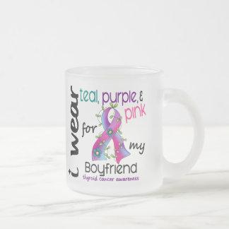 Thyroid Cancer I Wear Ribbon For My Boyfriend 43 Frosted Glass Coffee Mug