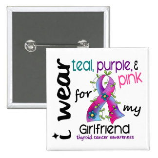 Thyroid Cancer I Wear Ribbon For My Girlfriend 43 15 Cm Square Badge
