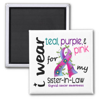 Thyroid Cancer I Wear Ribbon For My Sister-In-Law Square Magnet