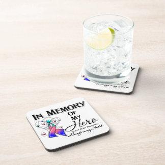 Thyroid Cancer In Memory of My Hero Beverage Coasters