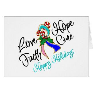 Thyroid Cancer Love Hope Holidays Greeting Card