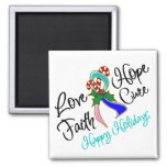 Thyroid Cancer Love Hope Holidays Refrigerator Magnet