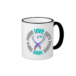 Thyroid Cancer Peace Love Cure Ribbon Coffee Mugs