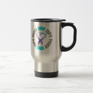 Thyroid Cancer Peace Love Cure Ribbon Coffee Mugs