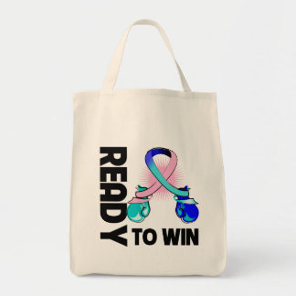 Thyroid Cancer Ready To Win Grocery Tote Bag
